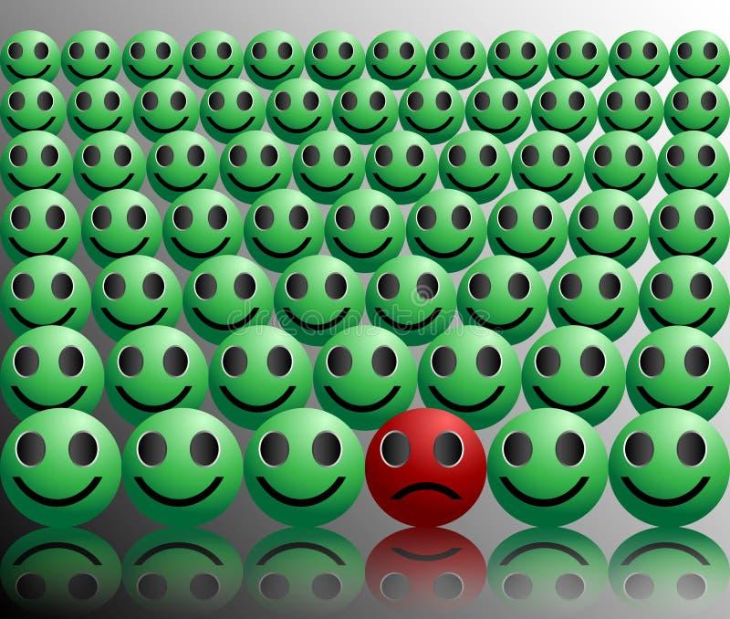 Μελαγχολικός λυπημένος μη κοινωνικός θλίψης απεικόνιση αποθεμάτων