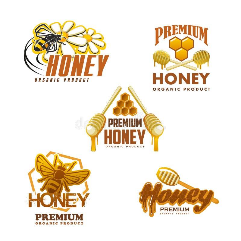Μελιού μελισσών διανυσματικά εικονίδια προϊόντων ασφαλίστρου οργανικά διανυσματική απεικόνιση