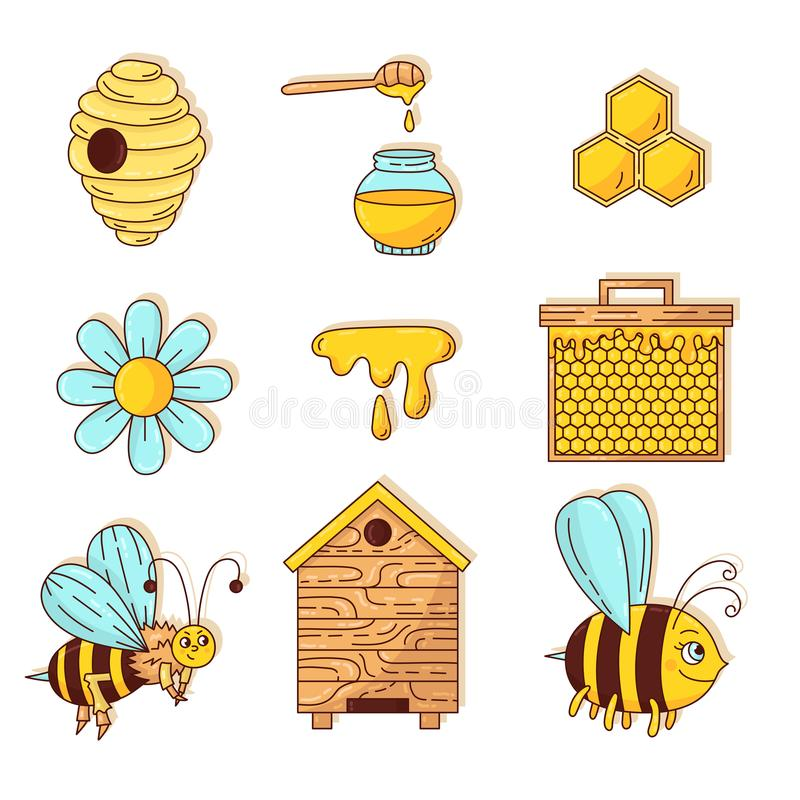 Μελιού μελισσών διανυσματικό σύνολο κινούμενων σχεδίων doodle εικονιδίων χαριτωμένο διανυσματική απεικόνιση