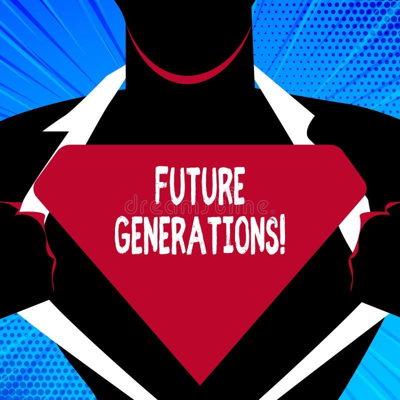 Μελλοντικές γενιές γραψίματος κειμένων γραφής Έννοια που σημαίνει τις γενεές για να έρθει μετά από την παραγωγή αυτήν την περίοδο ελεύθερη απεικόνιση δικαιώματος
