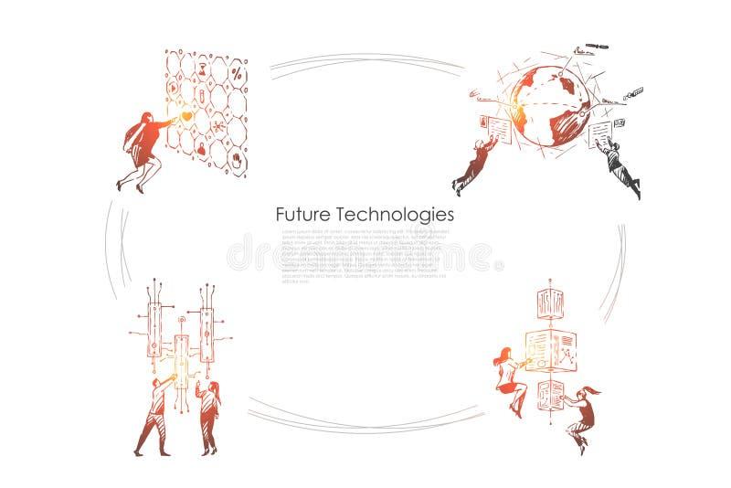Μελλοντικές τεχνολογίες - άνθρωποι που ωθούν τα κουμπιά, που εξετάζουν τις οθόνες και που ερευνούν τις τεχνολογίες του μελλοντικο διανυσματική απεικόνιση