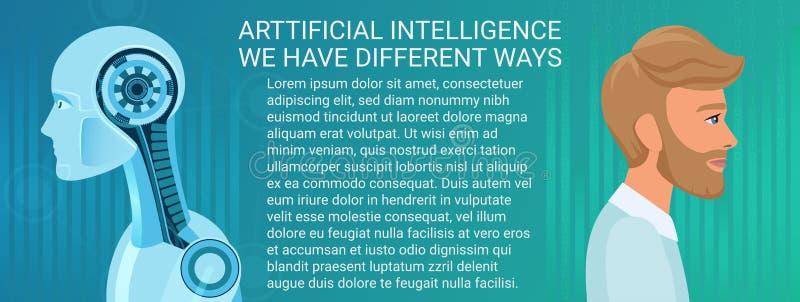 Μελλοντική έννοια της συνύπαρξης ανθρώπων και ρομπότ Διαφορετικός τρόπος επιχειρήσεων και οικονομικών της τεχνητής νοημοσύνης και ελεύθερη απεικόνιση δικαιώματος