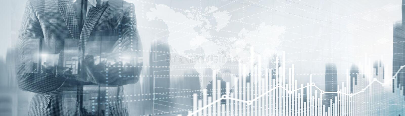 Μελλοντική οικονομική διεπαφή τεχνολογίας Διάγραμμα χρηματιστηρίου γραφικών παραστάσεων Παγκόσμιος χάρτης στην εικονική οθόνη Έμβ στοκ εικόνες