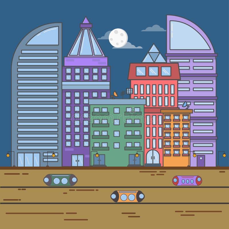 Μελλοντική πόλη ή σύγχρονη έννοια πόλεων επίπεδη απεικόνιση τοπίων γραμμών πόλεων ύφους διανυσματική τη νύχτα ελεύθερη απεικόνιση δικαιώματος