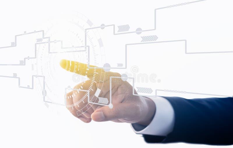 Μελλοντική τεχνολογία Κουμπί αφής στο άσπρο υπόβαθρο Ηλεκτρικό σχέδιο για τη χρήση σχεδίου Αγγίξτε το μέλλον, τεχνολογία διεπαφών στοκ φωτογραφίες με δικαίωμα ελεύθερης χρήσης