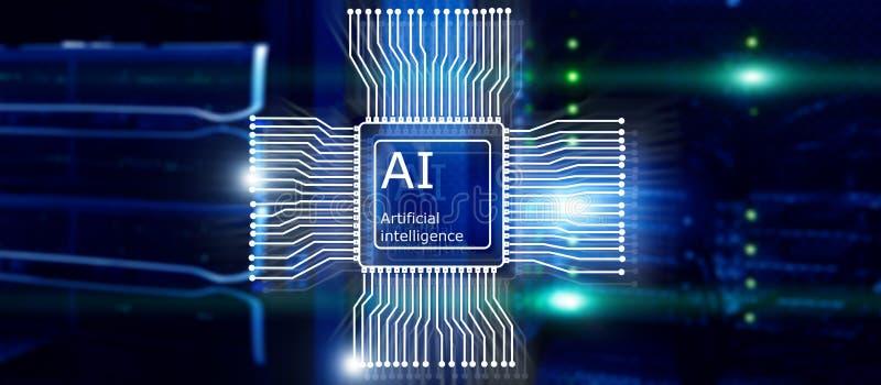 Μελλοντική τεχνολογία τεχνητής νοημοσύνης Έννοια δικτύων επικοινωνίας Θολωμένο σύγχρονο υπόβαθρο datacenter στοκ εικόνα