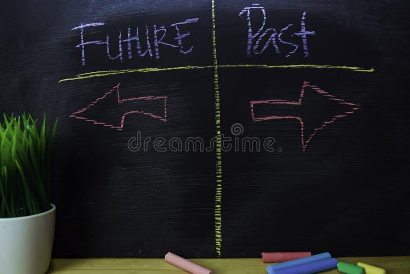 Μελλοντικός ή προηγούμενος που γράφεται με την έννοια κιμωλίας χρώματος στον πίνακα στοκ εικόνες