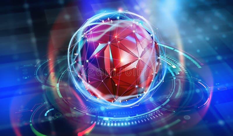 Μελλοντικός επεξεργαστής Κβαντική ΚΜΕ στο δίκτυο υπολογιστών nanotech διανυσματική απεικόνιση