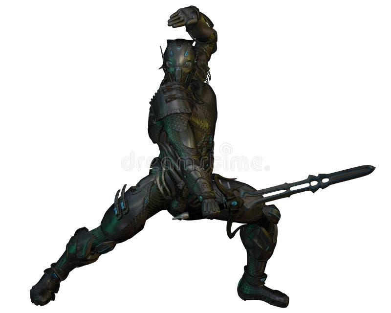 Μελλοντικός ιππότης πολεμιστών απεικόνιση αποθεμάτων