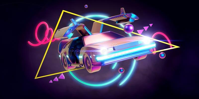Μελλοντικό αυτοκίνητο, αναδρομικός 80ος απεικόνιση αποθεμάτων