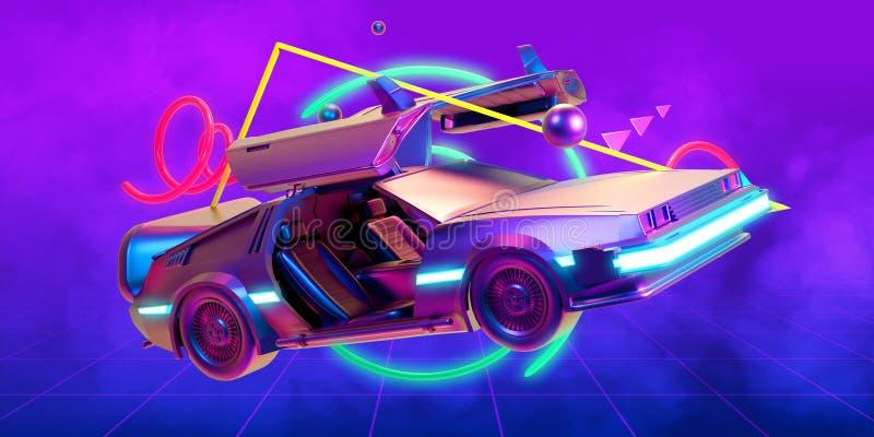 Μελλοντικό αυτοκίνητο, αναδρομικός 80ος ελεύθερη απεικόνιση δικαιώματος
