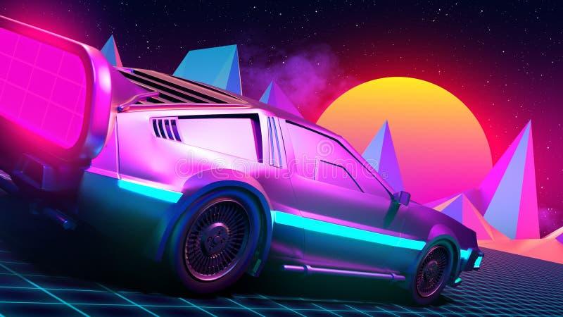 Μελλοντικό αυτοκίνητο, αναδρομικός 80ος διανυσματική απεικόνιση