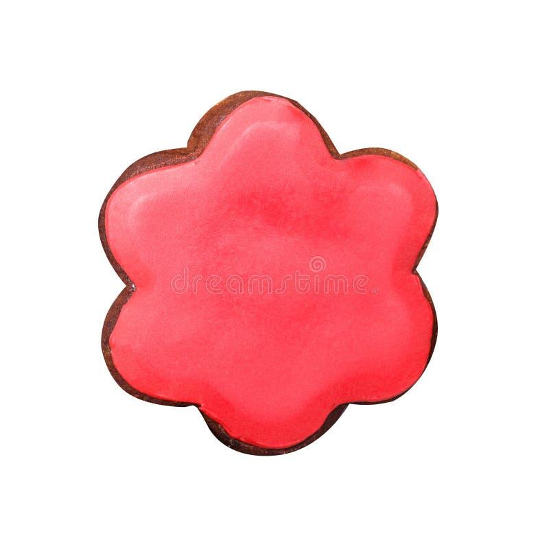 Μελόψωμο υπό μορφή λουλουδιού με το κόκκινο λούστρο στοκ εικόνες με δικαίωμα ελεύθερης χρήσης