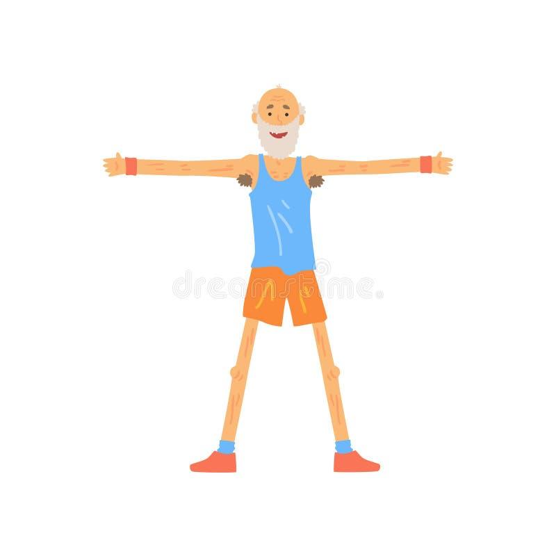 Μεμβρανοειδές παλαιό τέντωμα ατόμων πριν από την κατάρτιση γυμναστικής Γενειοφόρο ηλικιωμένο αρσενικό που στέκεται με το ώμος-πλά απεικόνιση αποθεμάτων