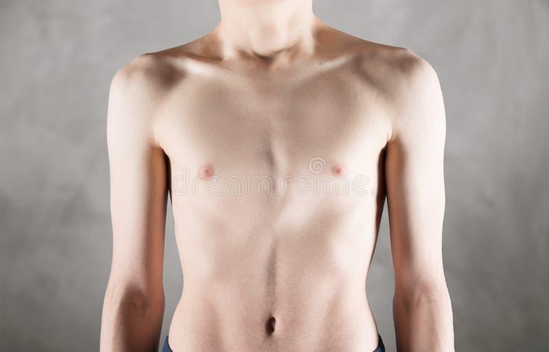 Μεμβρανοειδές στήθος ενός αρσενικού εφήβου στοκ φωτογραφία με δικαίωμα ελεύθερης χρήσης