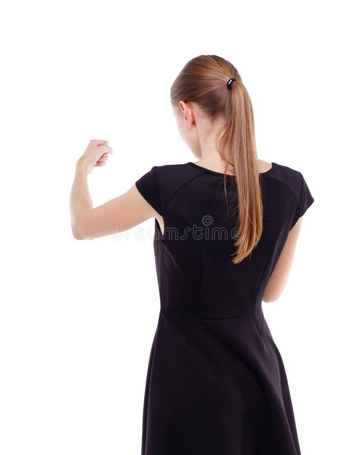 Μεμβρανοειδείς αστείες πάλες γυναικών που κυματίζουν τα όπλα και τα πόδια του στοκ εικόνα