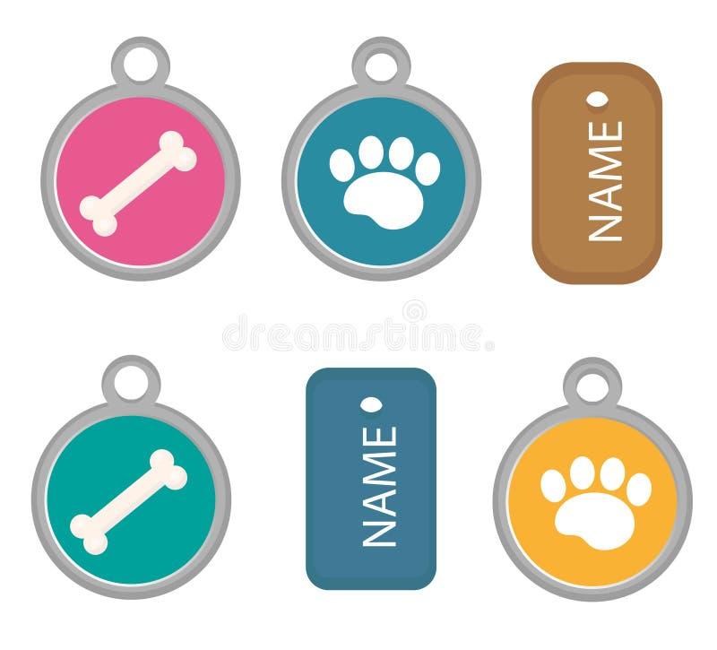 Μενταγιόν, σύνολο ετικεττών σκυλιών των εικονιδίων, επίπεδος, ύφος κινούμενων σχεδίων η ανασκόπηση απομόνωσε το λευκό Διανυσματικ ελεύθερη απεικόνιση δικαιώματος