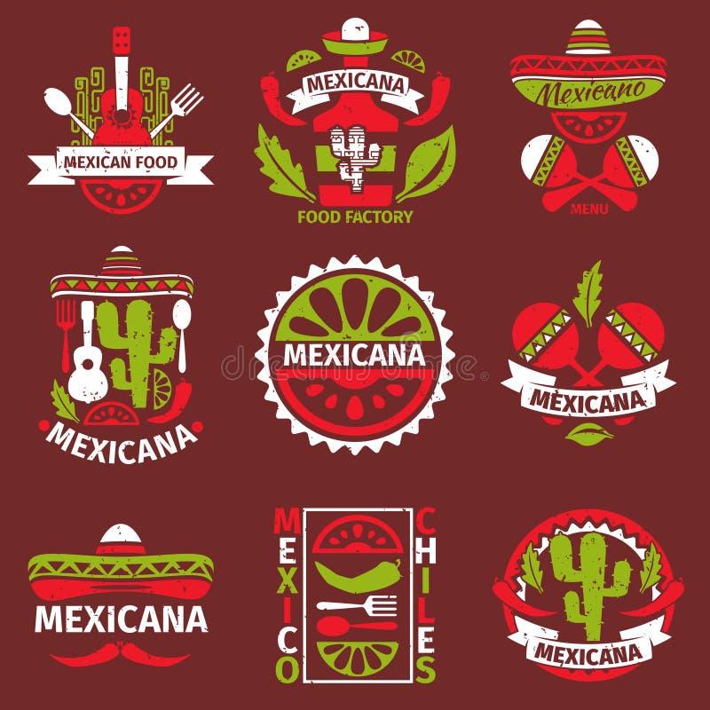 Μεξικάνικα λαστιχένια διανυσματικά γραμματόσημα τροφίμων grunge διανυσματική απεικόνιση