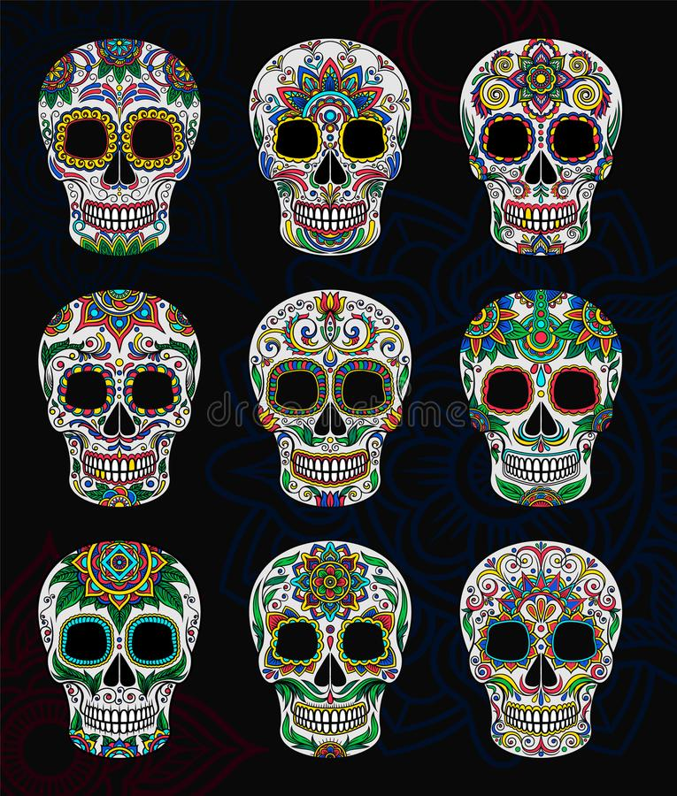 Μεξικάνικα κρανία ζάχαρης με το floral σύνολο σχεδίων, ημέρα της νεκρής διανυσματικής απεικόνισης ελεύθερη απεικόνιση δικαιώματος