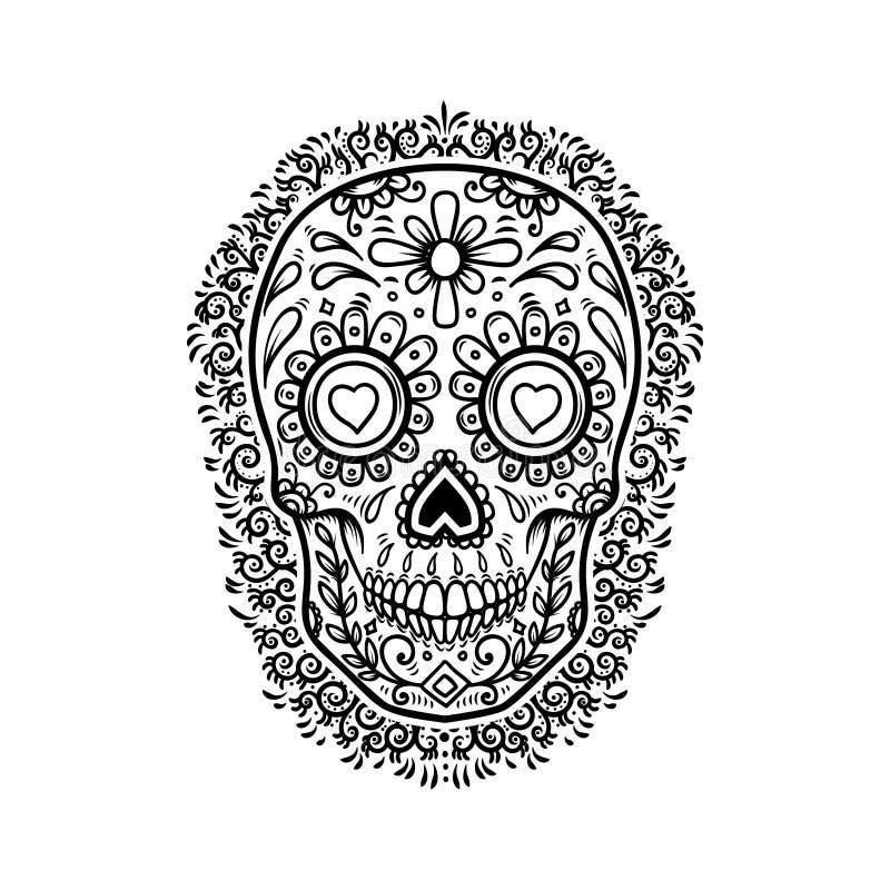 Μεξικάνικα κρανία ζάχαρης με το floral υπόβαθρο σχεδίων ημέρα νεκρή Στοιχείο σχεδίου για την αφίσα, ευχετήρια κάρτα, έμβλημα, μπλ απεικόνιση αποθεμάτων