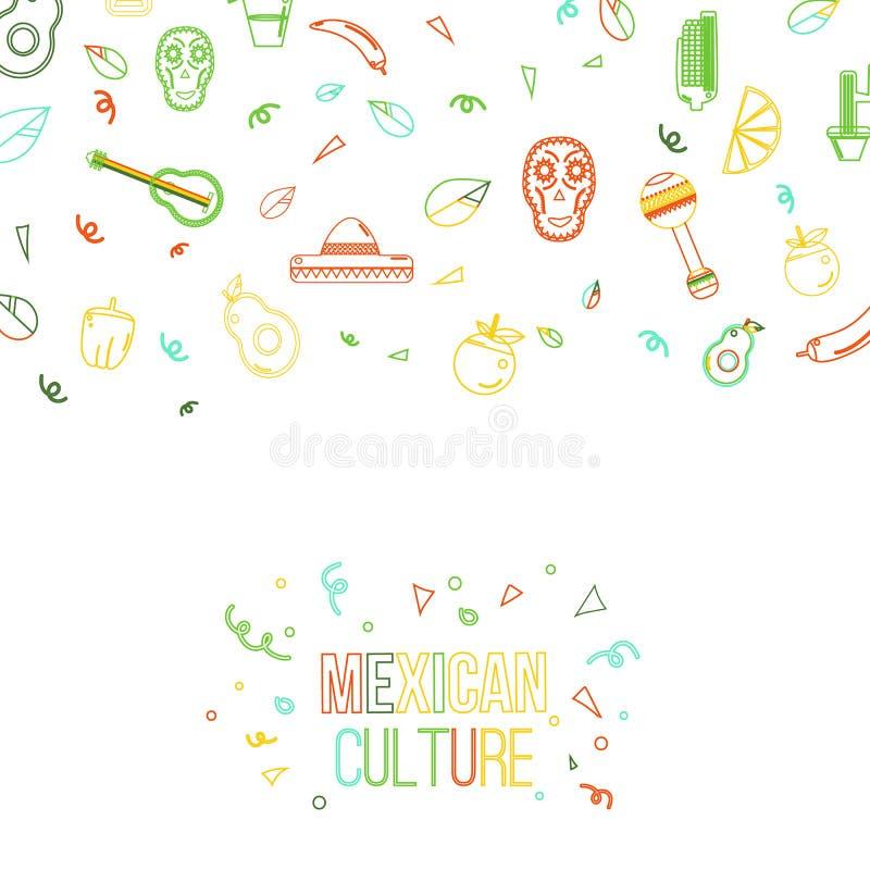 Μεξικάνικα στοιχεία σχεδίου εμβλημάτων πολιτισμού Σομπρέρο και maracas, μεξικάνικη κιθάρα, μπουκάλι tequila, λογότυπο taco απεικόνιση αποθεμάτων