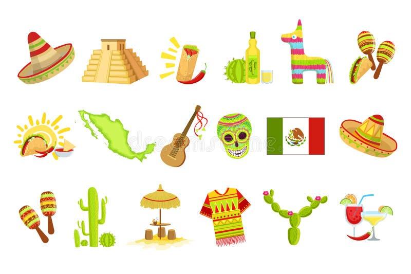 Μεξικάνικα σύμβολα πολιτισμού καθορισμένα διανυσματική απεικόνιση