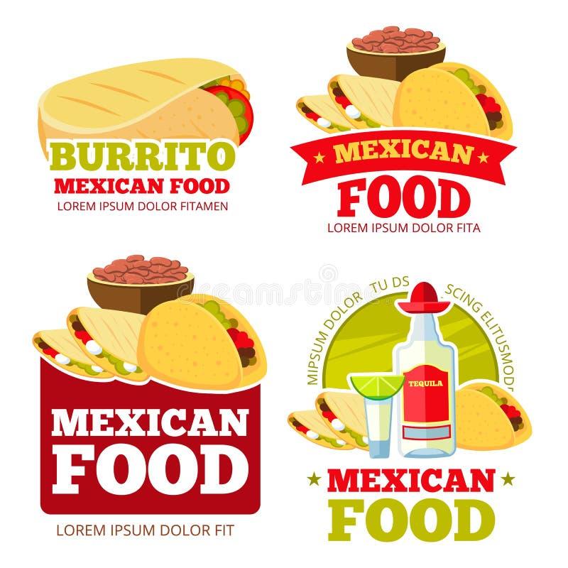 Μεξικάνικα τροφίμων διακριτικά, ετικέτες, λογότυπα και εμβλήματα εστιατορίων διανυσματικά απεικόνιση αποθεμάτων