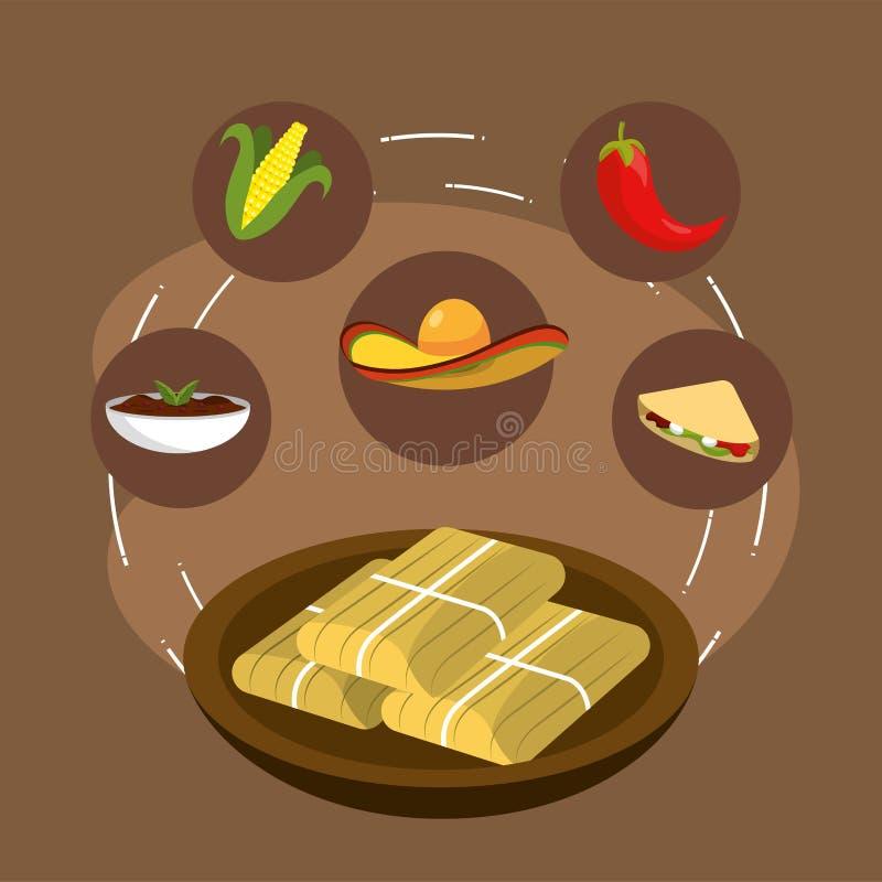 Μεξικάνικα τρόφιμα με το τσίλι και σπάδικας με τη σάλτσα ελεύθερη απεικόνιση δικαιώματος