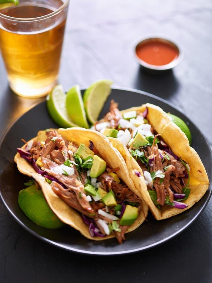 Μεξικάνικα tacos οδών με τα carnitas χοιρινού κρέατος, το κόκκινο λάχανο, το cilantro και το κρεμμύδι στοκ εικόνες