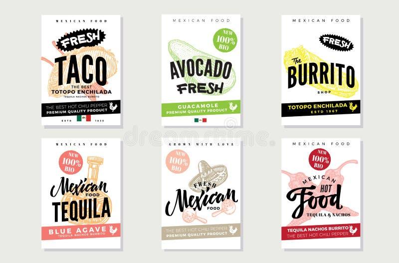 Μεξικάνικες αφίσες τροφίμων σκίτσων διανυσματική απεικόνιση