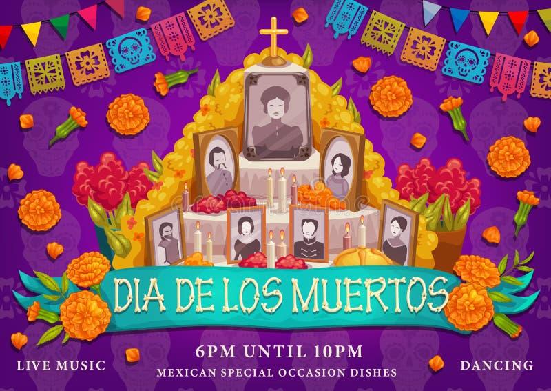 Μεξικάνικες διακοπές Dia de Los muertos, φωτογραφίες βωμών απεικόνιση αποθεμάτων