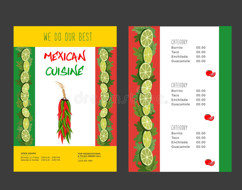 Μεξικάνικες επιλογές τροφίμων απεικόνιση αποθεμάτων
