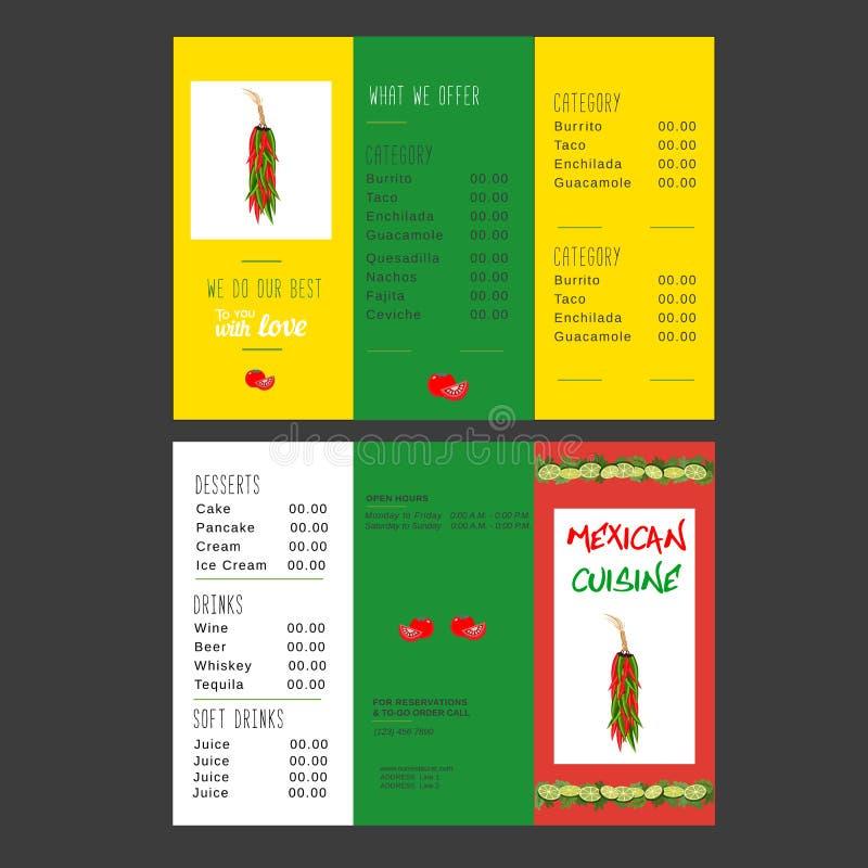 Μεξικάνικες επιλογές τροφίμων διανυσματική απεικόνιση