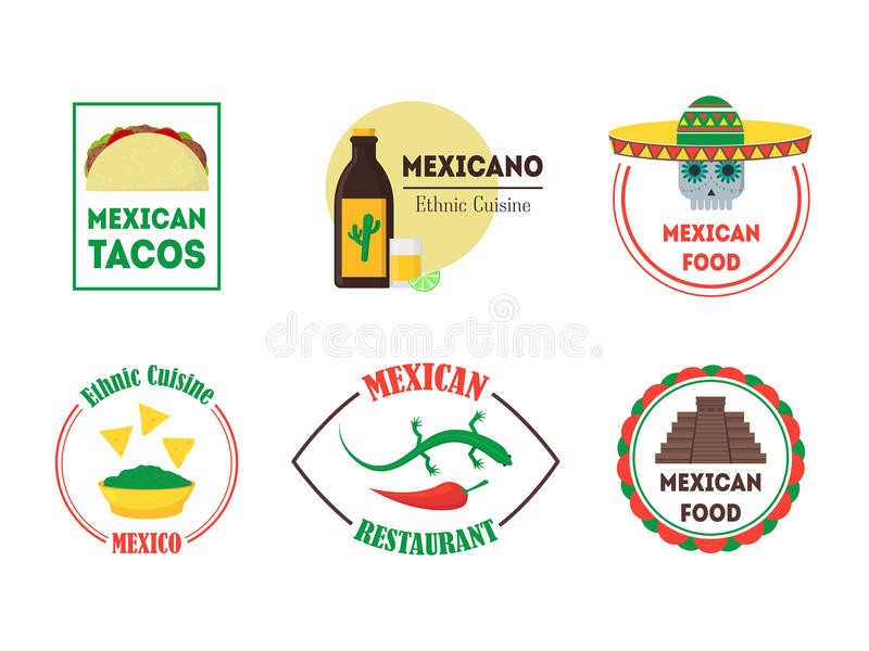 Μεξικάνικες διακριτικά ή ετικέτες τροφίμων καθορισμένα διάνυσμα διανυσματική απεικόνιση
