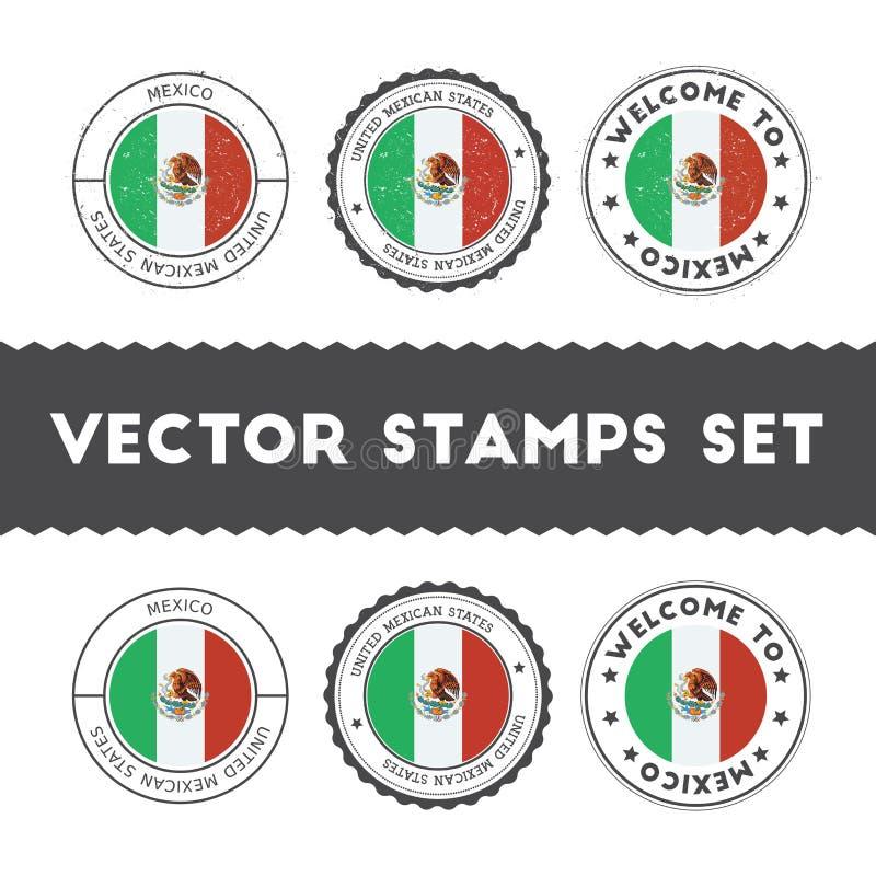 Μεξικάνικες σφραγίδες σημαιών καθορισμένες διανυσματική απεικόνιση