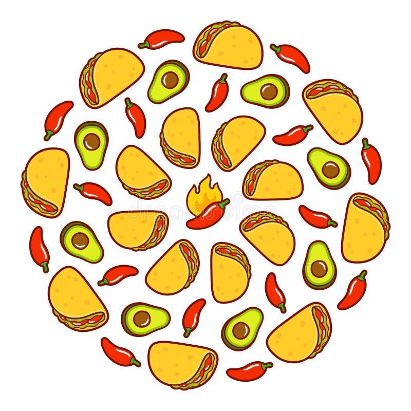 Μεξικάνικη απεικόνιση τροφίμων διανυσματική απεικόνιση
