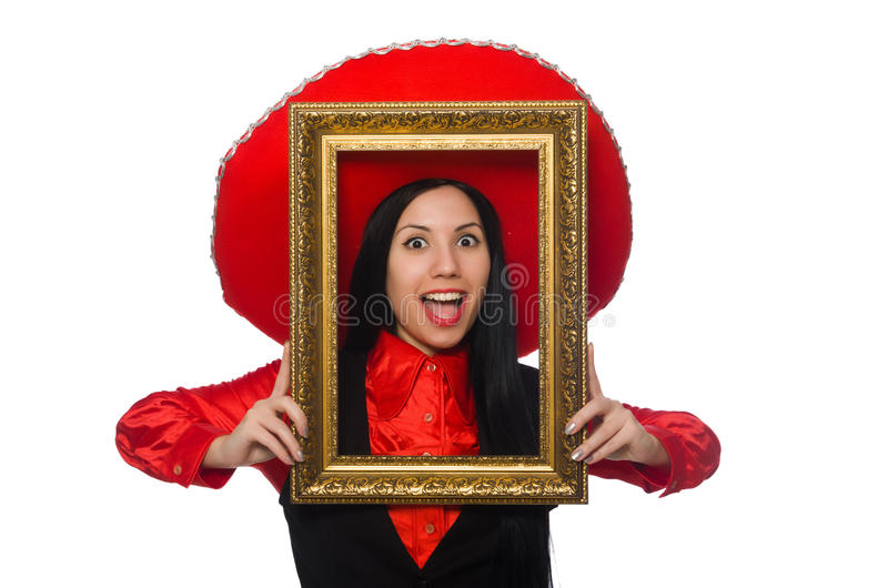 Download Μεξικάνικη γυναίκα με το πλαίσιο εικόνων στο λευκό Στοκ Εικόνα - εικόνα από συγκινημένος, καλλιτεχνών: 62710539