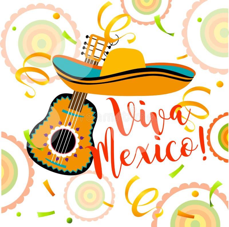 Μεξικάνικη ευχετήρια κάρτα Μεξικάνικο αφηρημένο υπόβαθρο διανυσματική απεικόνιση
