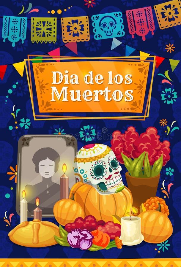 Μεξικάνικη ημέρα του νεκρού κρανίου ζάχαρης στο βωμό απεικόνιση αποθεμάτων