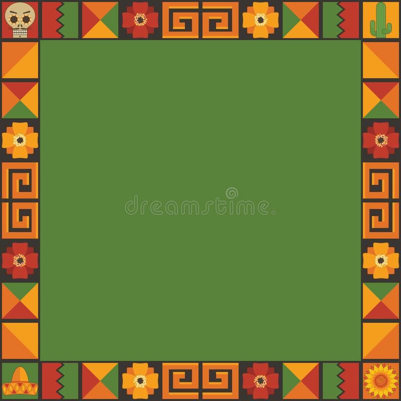 Μεξικάνικη διακόσμηση πλαισίων διανυσματική απεικόνιση