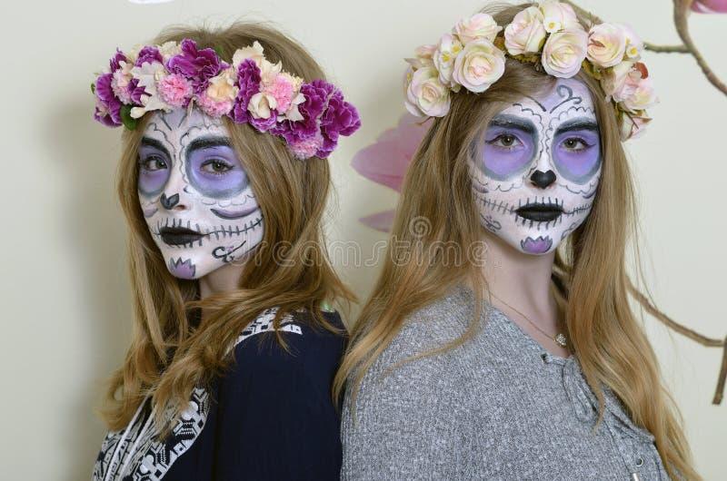 Μεξικάνικη μάσκα θανάτου Makeup στοκ εικόνα με δικαίωμα ελεύθερης χρήσης