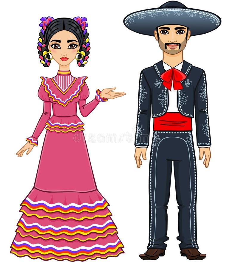 Μεξικάνικη οικογένεια στα παραδοσιακά εορταστικά ενδύματα απεικόνιση αποθεμάτων