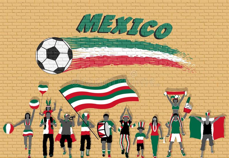 Μεξικάνικοι οπαδοί ποδοσφαίρου ενθαρρυντικοί με τα χρώματα σημαιών του Μεξικού στο μέτωπο διανυσματική απεικόνιση