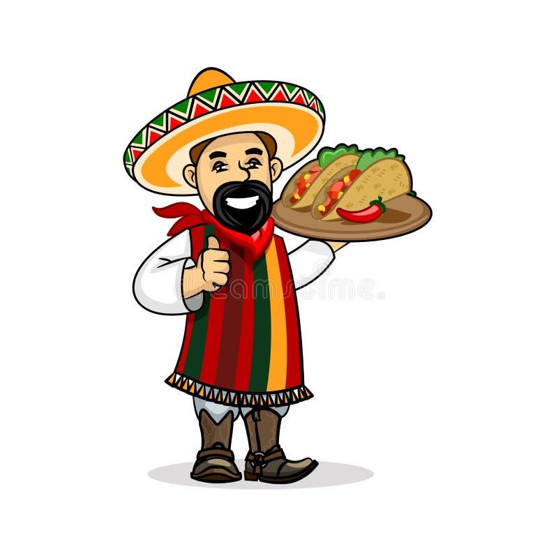 Μεξικάνικος μάγειρας με τις επιλογές και τα tacos ελεύθερη απεικόνιση δικαιώματος