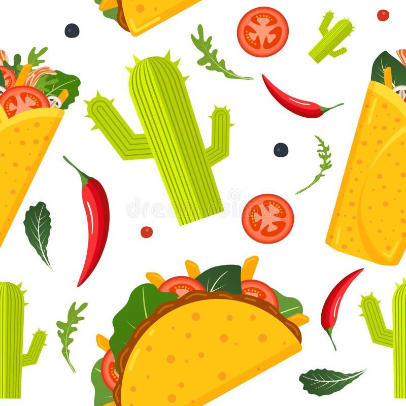 Μεξικάνικο άνευ ραφής σχέδιο τροφίμων Burrito, taco, καυτό πιπέρι και πράσινο μαρούλι Ζωηρόχρωμο υπόβαθρο, χαριτωμένο ύφος r διανυσματική απεικόνιση