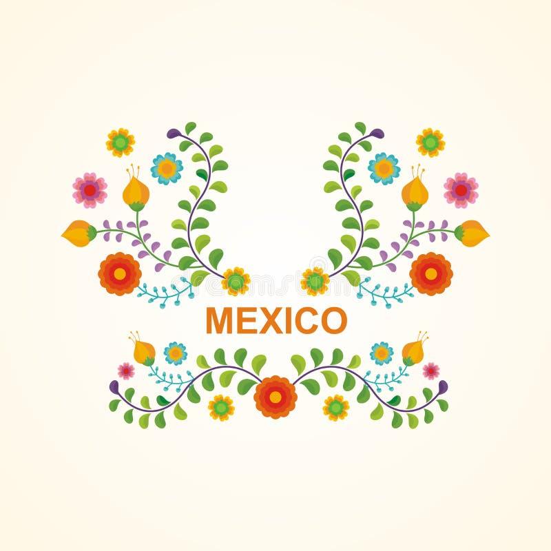 Μεξικάνικο εθνικό πλαίσιο λουλουδιών - σχέδιο συνόρων ελεύθερη απεικόνιση δικαιώματος