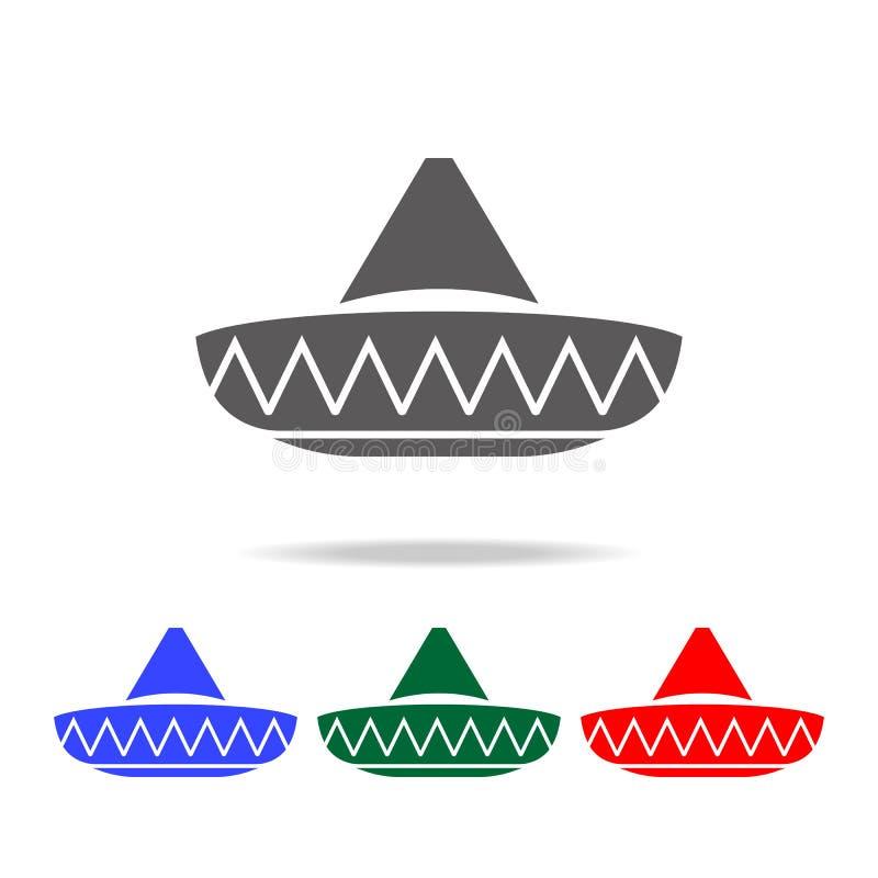 Μεξικάνικο εικονίδιο καπέλων Στοιχεία του πολιτισμού των πολυ χρωματισμένων εικονιδίων του Μεξικού Γραφικό εικονίδιο σχεδίου εξαι απεικόνιση αποθεμάτων