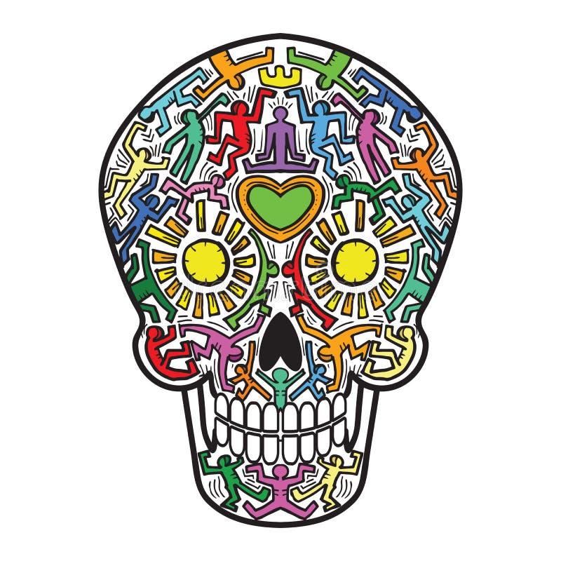 Μεξικάνικο θέμα τέχνης οδών κρανίων Calavera ελεύθερη απεικόνιση δικαιώματος
