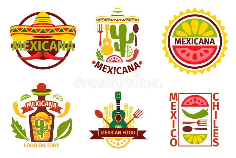 Μεξικάνικο διανυσματικό λογότυπο τροφίμων, ετικέτες, εμβλήματα απεικόνιση αποθεμάτων
