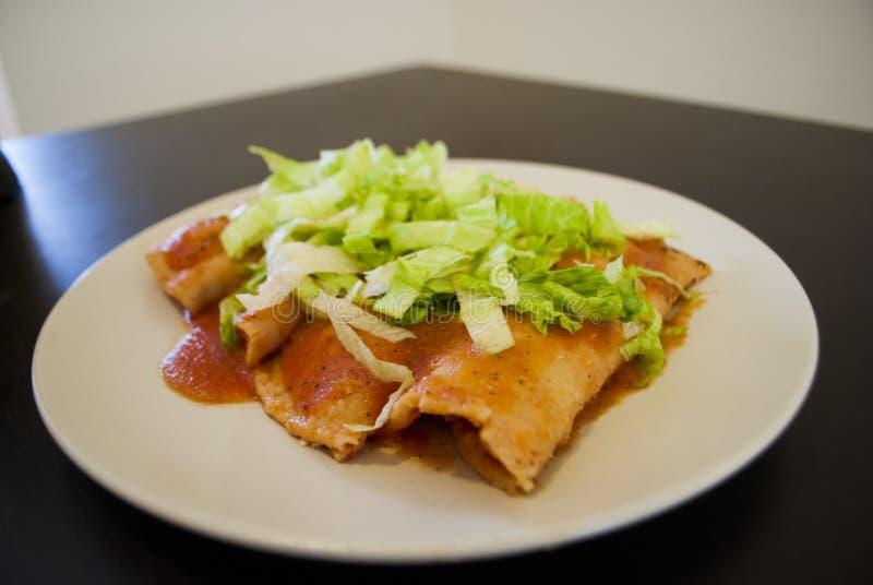 Μεξικάνικο κοτόπουλο Enchiladas στοκ εικόνες
